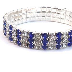 Jewelry - Blue & White 3 Row Rhinestone Stretch Bracelet